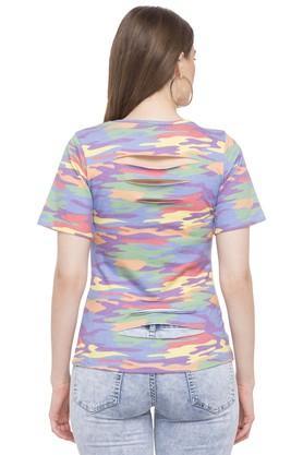 Womens Round Neck Camouflage T-Shirt