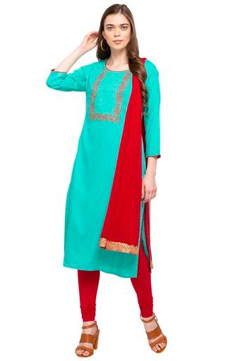 Womens Round Neck Floral Print Churidar Suit