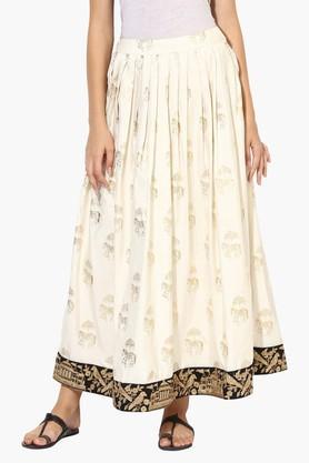 JUNIPERWomens Gold Block Printed Flared Skirt - 203363058