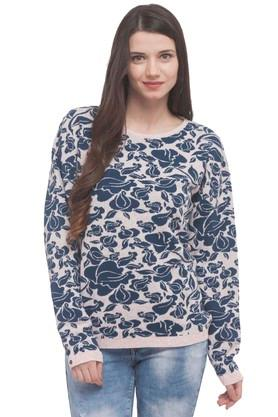 FLYING MACHINE Womens Round Neck Printed Sweater