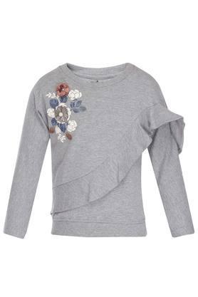 Girls Round Neck Printed Corsage Sweatshirt