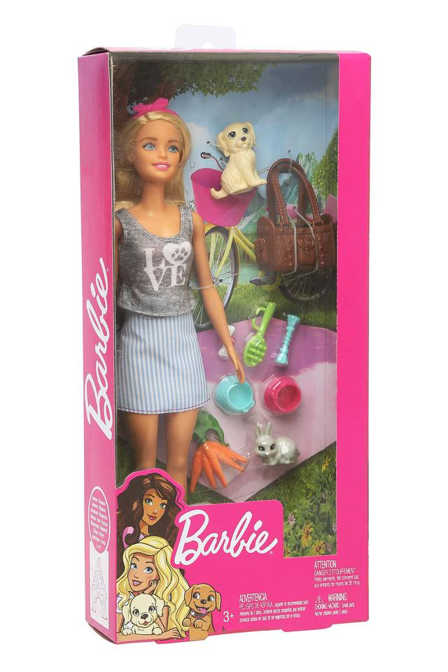 Girls Barbie Doll and Pet Set