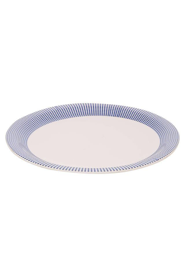 Round Geometric Printed Drizzle Dinner Plate