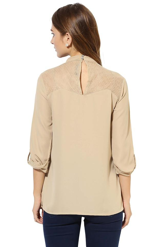 Womens Band Neck Solid Embellished Top
