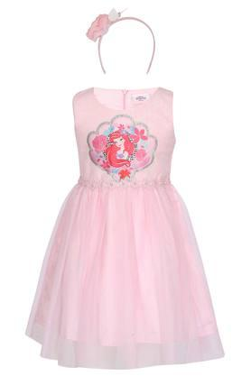 Girls Round Neck Printed Flared Dress with Hairband
