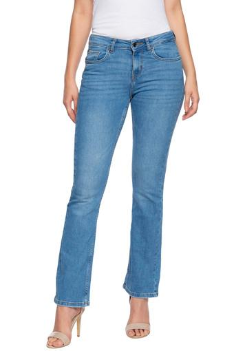 Womens 5 pockets Whiskered Effect Jeans