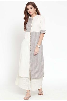 Womens Mandarin Neck Striped Kurta and Palazzo Set
