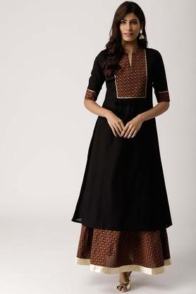 Womens Mandarin Neck Solid Kurta and Skirt Set