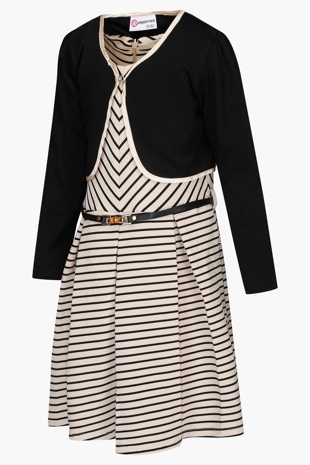Girls Round Neck Stripe Pleated Dress with Shrug