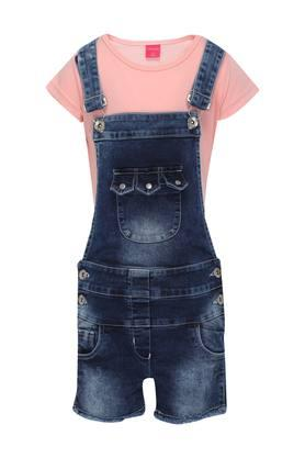 Girls Round Neck Washed Dungarees with Tee