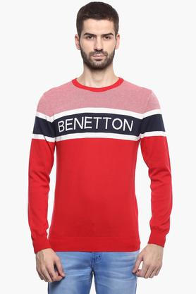 UNITED COLORS OF BENETTONMens Round Neck Colour Block Sweater