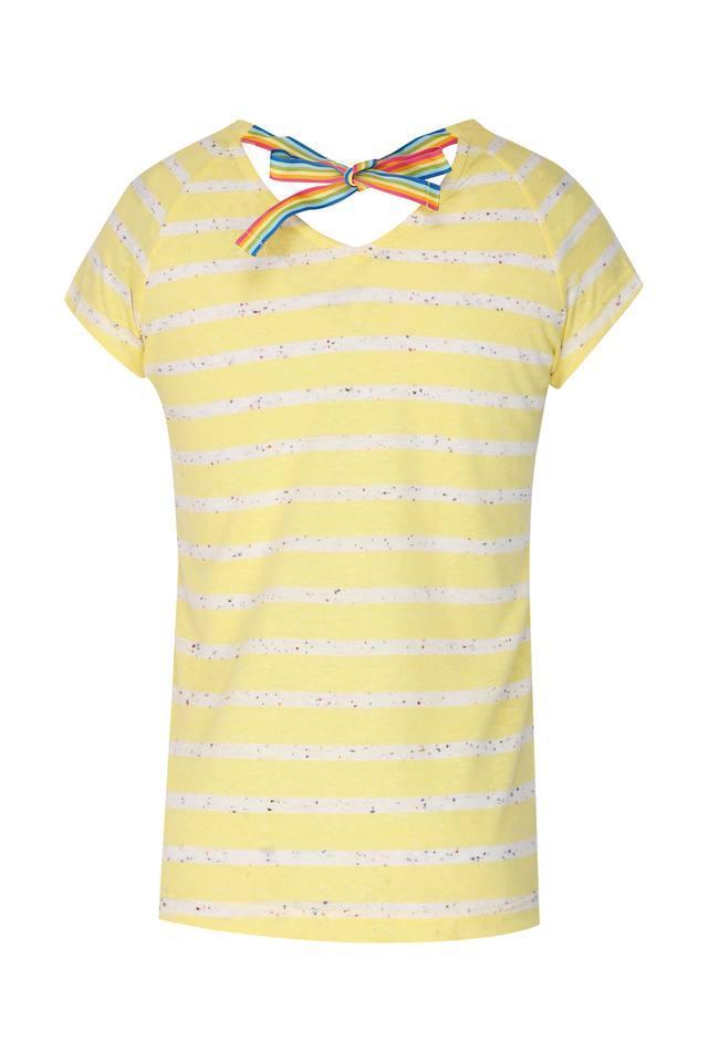 Girls Round Neck Striped Top
