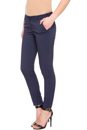 Womens 4 Pocket Solid Trousers