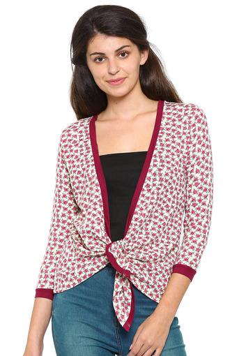 Womens Open Front Tie Up Printed Cardigan