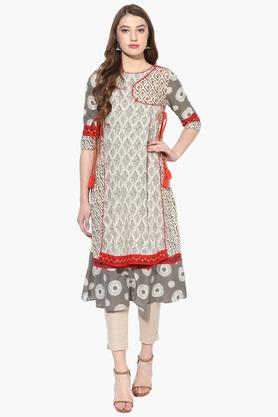 JUNIPER Womens Embroidered Angrakha Style Kurta With Tassels - 203635655