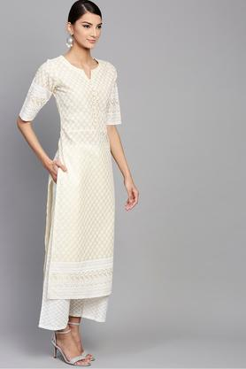 Womens Notched Collar Embroidered Kurta and Palazzo Set