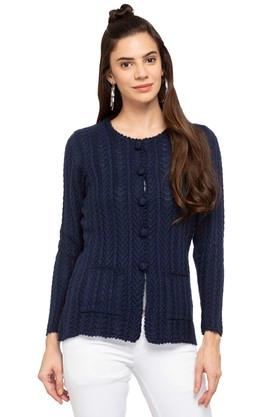 APSLEY Womens Round Neck Solid Knitted Cardigan