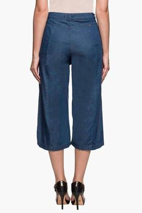 Womens 2 Pocket Solid Capris