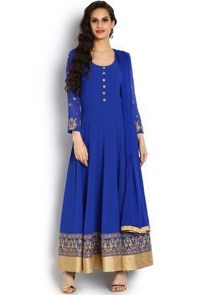 SOCHWomens Scoop Neck Solid Embroidered Anarkali Suit