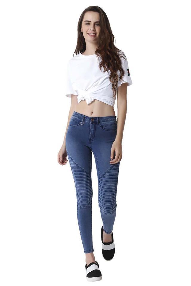 Womens 4 Pocket Heavy Wash Jeans