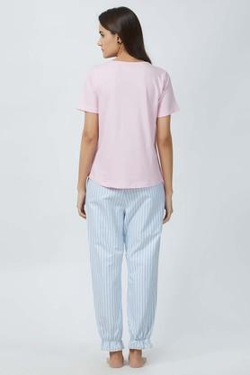 Womens V-Neck Solid Top and Striped Pyjama Set