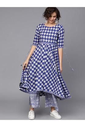 GERUA Women Cotton Printed Aline Kurta With Cotton Printed Palazzo