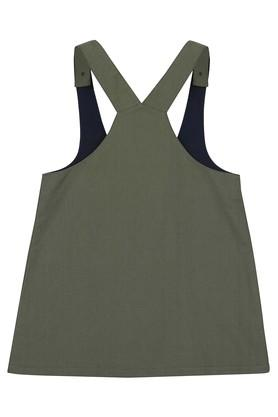Girls Round Neck Solid Dungaree Dress