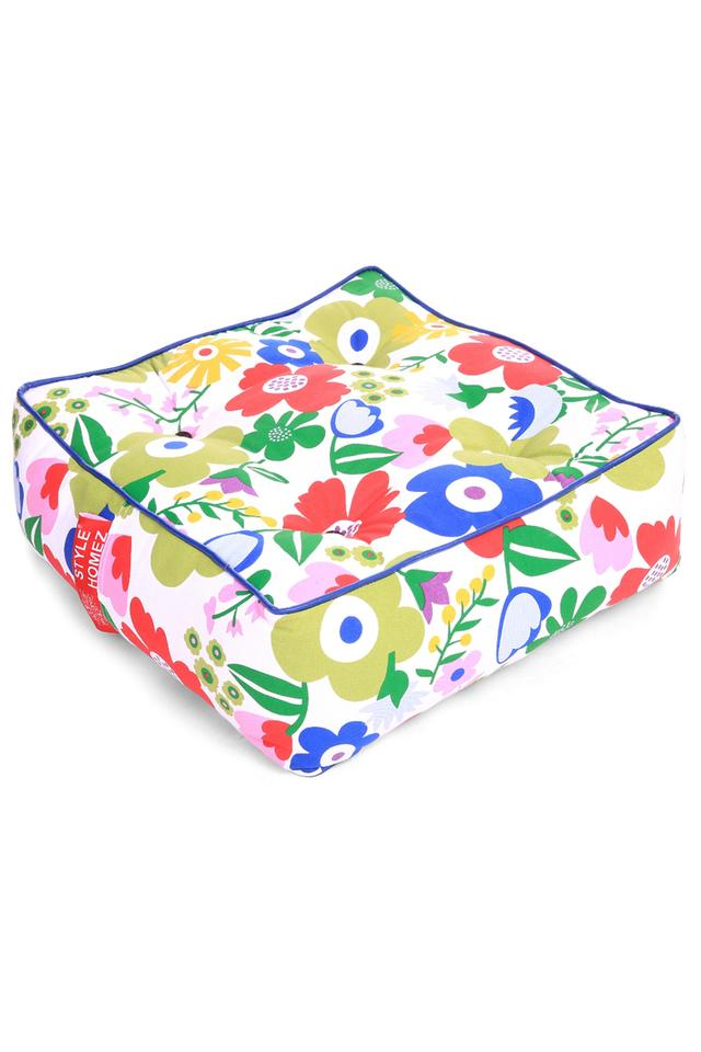 Canvas Floral Printed Square Floor Cushion Large Size with Filling