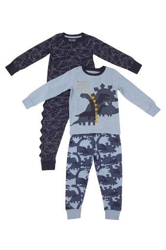 Boys Round Neck Printed Tee and Pants - Pack of 2