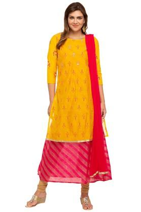 Womens Round Neck Embroidered Layered Churidar Suit