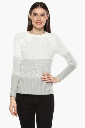 RARE Womens Round Neck Knitted Pattern Sweater
