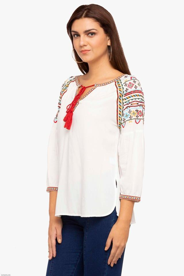 Womens Tie Up Neck Solid Embroidered Tunic