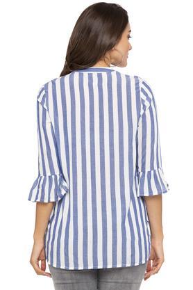 Womens Bell Sleeves Striped Shirt