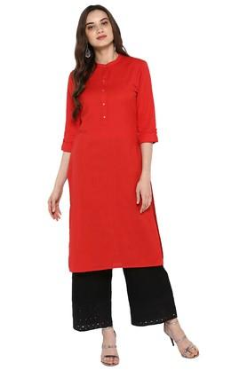 JUNIPER Womens Red Cotton Pintuck Long Kurta With Hakoba Pant