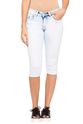 Womens 5 Pocket Heavy Wash Capris