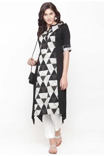 Women Rayon Geometric print Straight Kurta