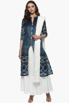 Womens Mandarin Neck Printed Kurta Skirt and Dupatta Set
