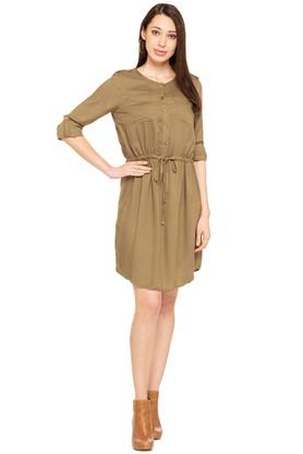 Womens Round Neck Solid Empire Waist Dress