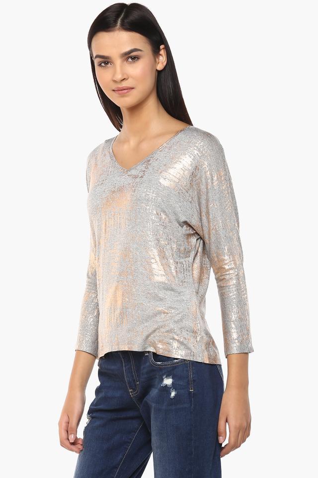 Womens V Neck Printed Shimmer Top