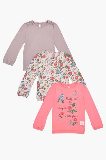 4889fad7c Buy MOTHERCARE Girls Round Neck Printed and Solid Top Pack of 3 ...