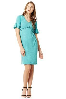 Womens V- Neck Slub A-Line Dress