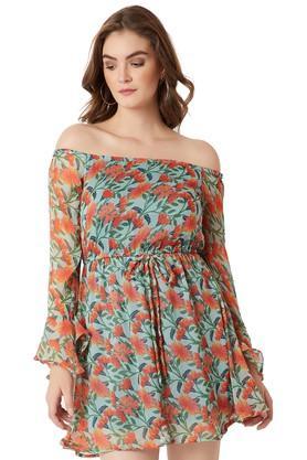 Womens Off Shoulder Neck Floral Print Short Dress