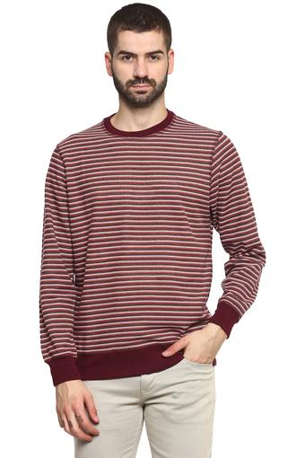 Mens Round Neck Striped Sweatshirt