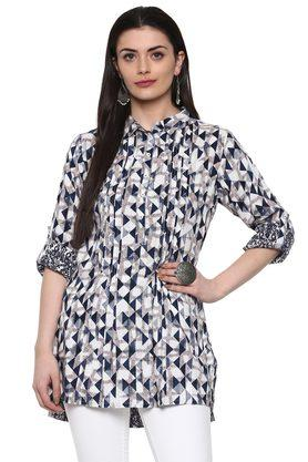Womens Collared Printed Kurti