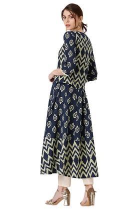 Womens Cotton Printed Anarkali Kurta With Ethnic Jacket