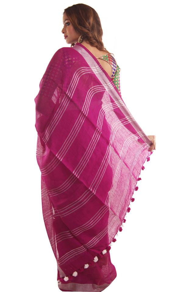 Women Linen Plain with Zari Saree