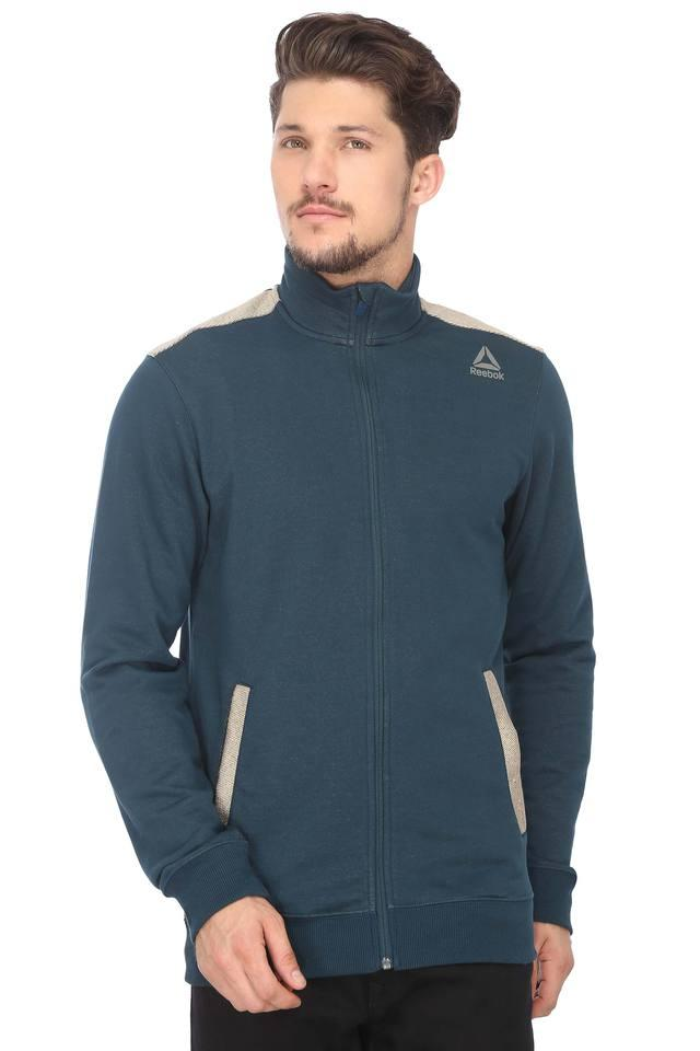 Mens Zip Through Neck Solid Jacket