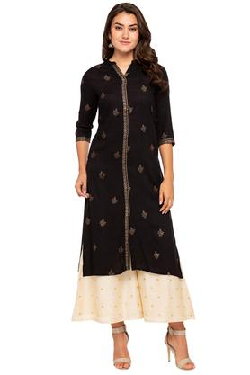 Womens Mandarin Neck Printed Kurta