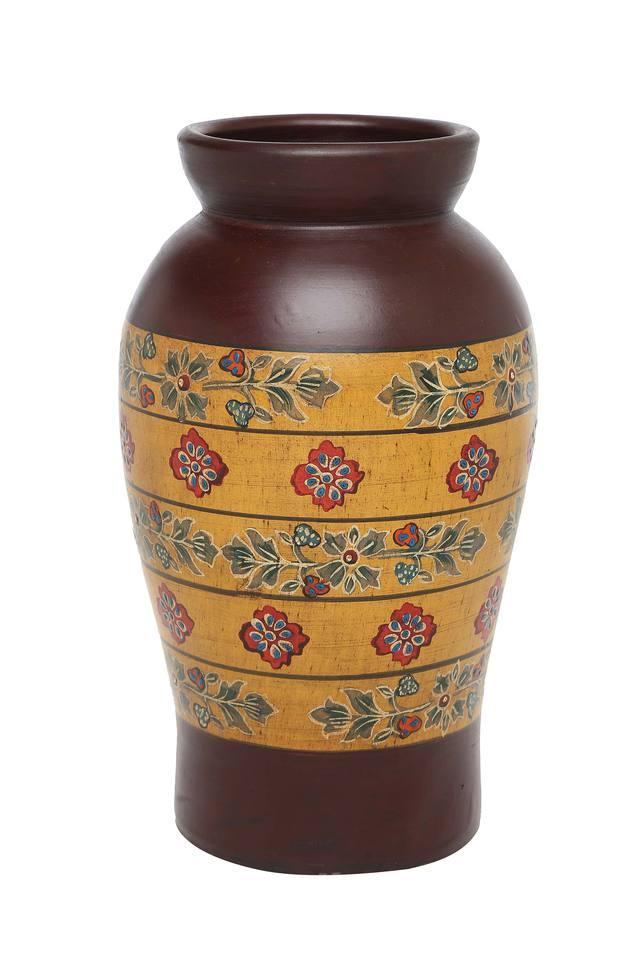 Wooden Finish Printed Conical Vase