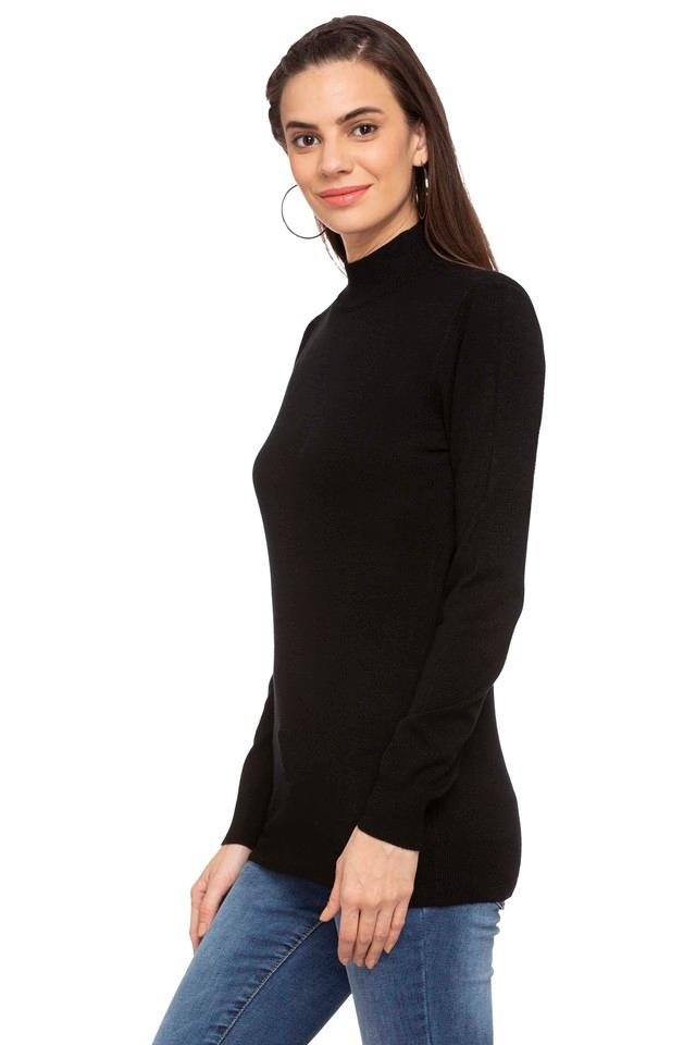 Womens High Neck Solid Sweater